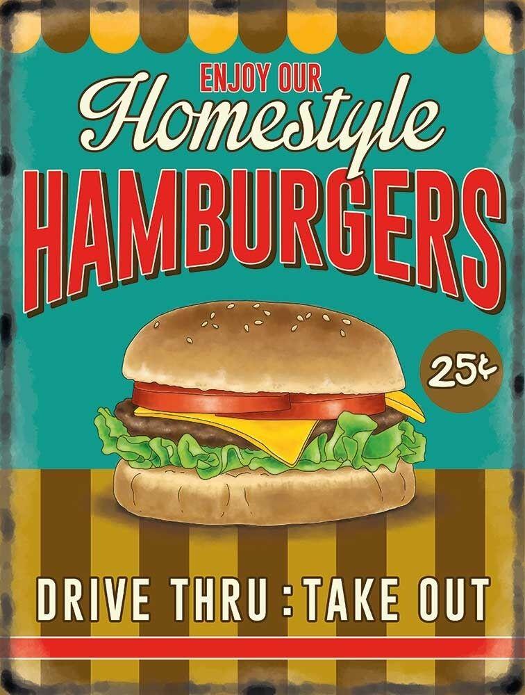 Hamburger Retro Diner -  Metal Wall Sign (3 Größes - Small   Large and Jumbo)