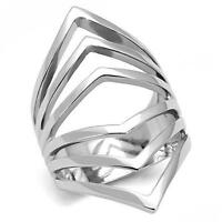 Women's Silver Stainless Steel Bold Pointed Slicer Wide Band Emo Unique Ring