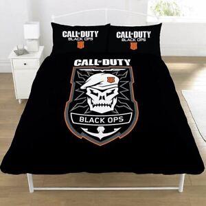 Call-Of-Duty-Noir-Ops-Embleme-Set-Housse-de-Couette-Double-2-IN-1-Design