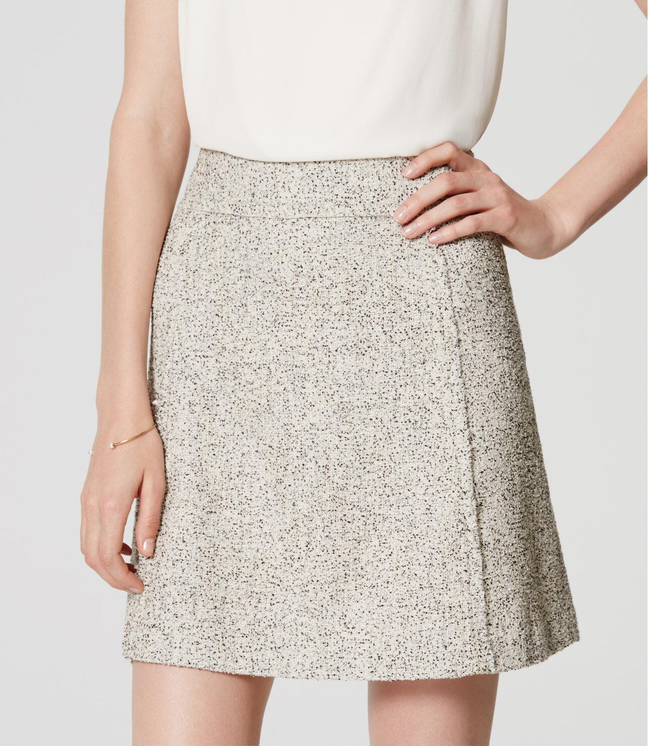 Ann Taylor LOFT Edged Tweed Skirt Size 8 Tall NWT Whisper White color