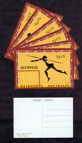 10 MINT OLYMPIAD MELBOURNE AUSTRALIA 1956 POSTCARDS with SPEAR THROWING BEAUTY