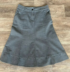 Per-Una-Grey-Pokadot-Denim-Skirt-Uk-10-A-Line-Panneled