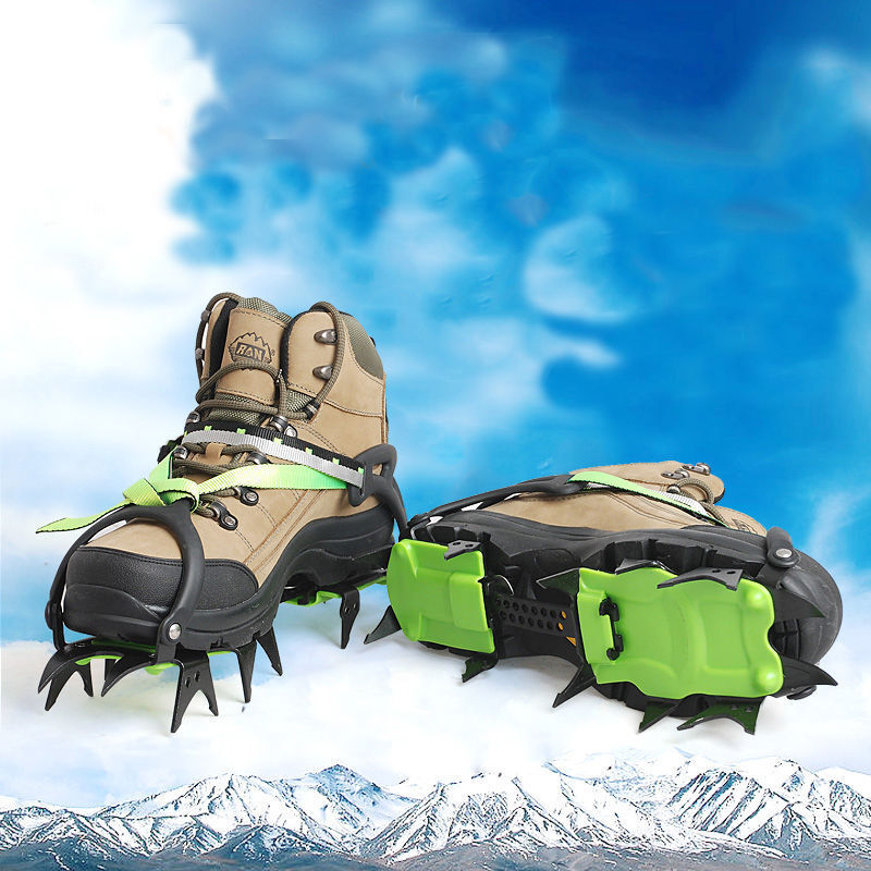 14-Teeth Ice Snow Climbing Walking Boot shoes Cover Spike Cleats Crampons Gripper