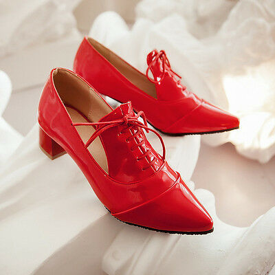 Womens Brogue Block Chunky Heel Pointy Toe Slip on Oxford Lace up Classic Shoes