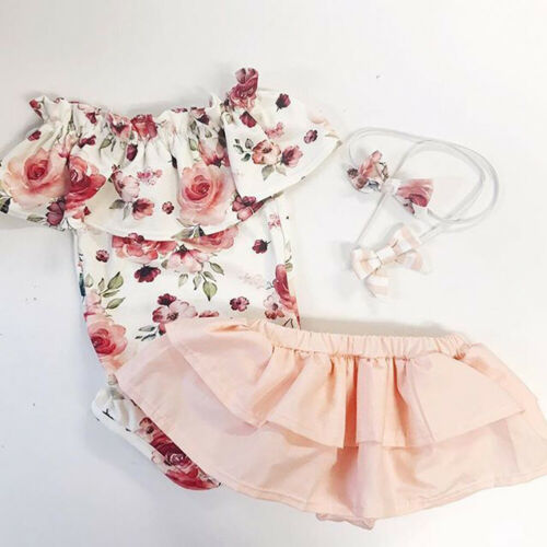USA Newborn 3Pcs Baby Girl Tops Floral Romper Skirt Pants Outfits Clothes 0-18M