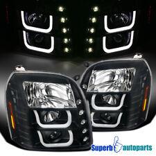 For GMC 00-06 Sierra Yukon Denali XL Black LED Halo Projector Headlights Head