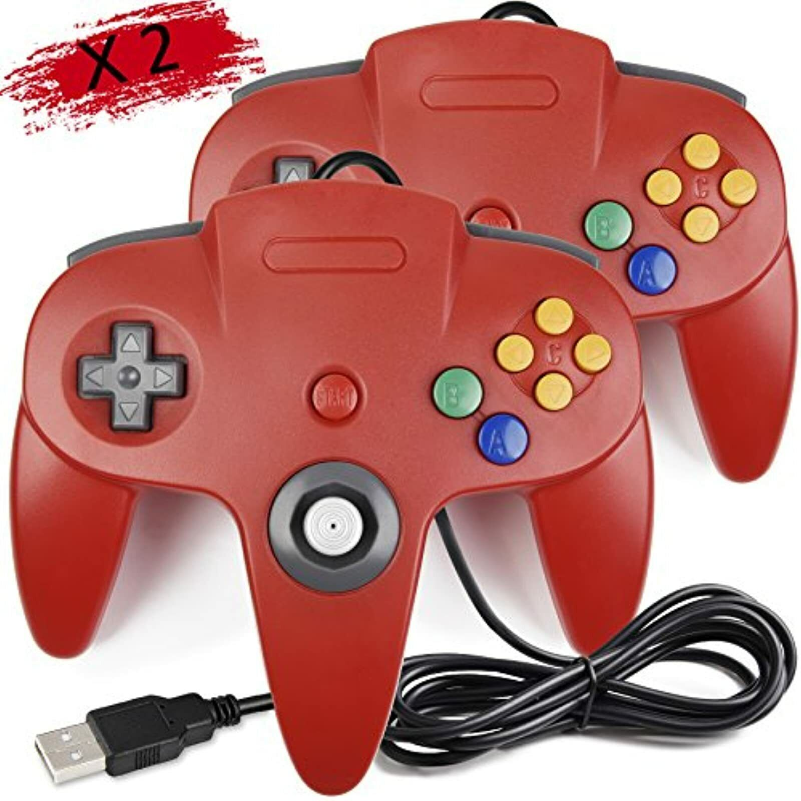 2 Pack Classic Retro N64 Bit USB Wired Controller For Windows PC MAC Linux
