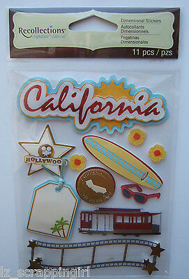 CALIFORNIA Recollections Dimensional Stickers; Los Angeles San Francisco Beaches