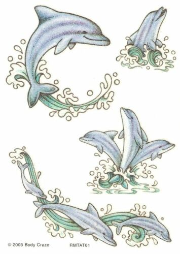 Sandylion Vintage Temporary Wet Tattoos Glittery DOLPHINS 3 sheets RETIRED