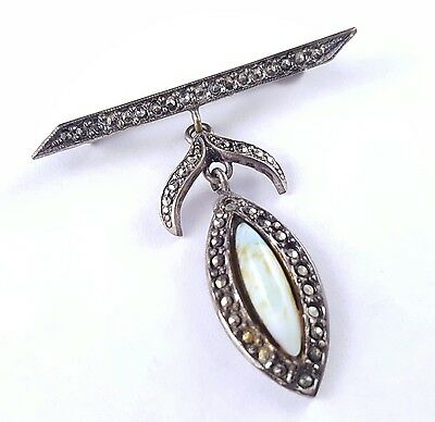 Mid Century Vintage Brooch Pin Marcasite Stone Flower Leaf Dangle Silver Tn I80