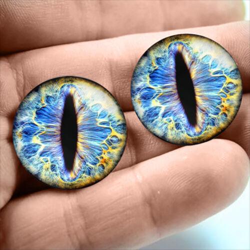 20mm Blue Snake Sci-fi Cat Creature Taxidermy Glass Eyeballs Halloween Fantasy