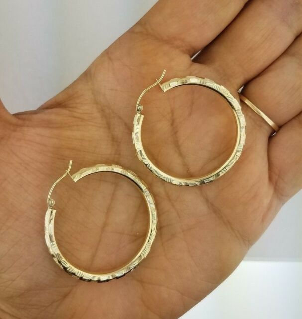 Diamond Cut 14k Yellow Gold 3 Mm Round Hollow Hoop Hoops Earrings 38 1 5