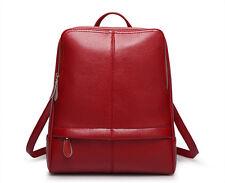 Red Women's Real Leather Zipper Knapsack Shoulder Bag Handbag Laptop Backpack