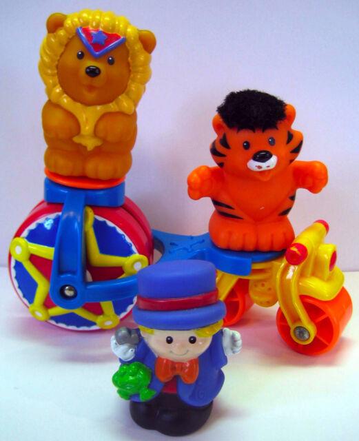 Fisher Price Little People CIRCUS ANIMAL Bike/Figures Lot: Ringleader Tiger Lion