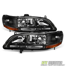 1998-2002 Honda Accord DX EX LX SE Clear Trim Blk Headlights HeadLamp Pair 98-02