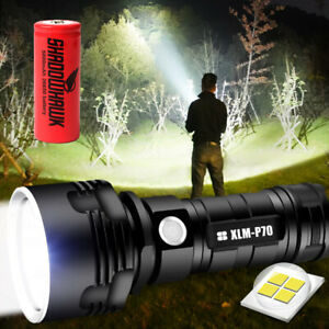 Super-bright-90000lm-flashlight-CREE-LED-P70-Tactical-torch-USB-5000mAh-battery