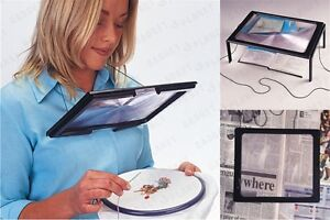 Giant-Hands-Free-Magnifier-Magnifying-Glass-Reading-Sewing-Craft-Knitting-BNIB