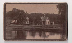 Vintage-CDV-Unknown-Village-Houses-Lake-Pastoral-Scene