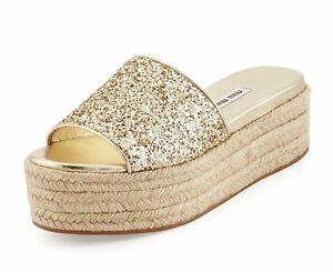 42fc9d04de1 Miu Miu Glitter Platform Espadrille 8374 Sandal Slide Pirite Size 38 ...