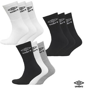 2b2106729628 New 3 Pairs Men s Umbro Three Pack Crew Sports Socks White Black ...