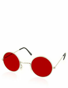 Daredevil-Style-Teashade-Sunglasses-Silver-Frame-Dark-Red-Lens