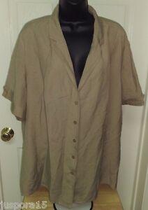 Lane Bryant Womens Linen Brown Button Down Shirt Top Blouse Size 26W 28W