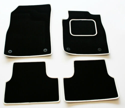 Perfect Fit Black Sapp Carpet Car Mats for VW Scirroco 08/> White Leather Trim