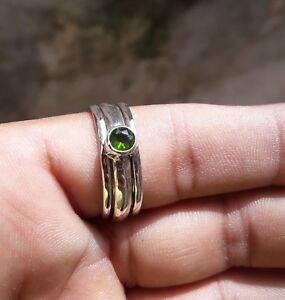Peridot-Stone-Solid-925-Sterling-Silver-Spinner-Ring-Meditation-statement-Ring