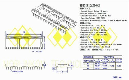 "100pc DIP IC Socket 2x20 40P Screw Machine Round hole pin 2.54x15.24mm 0.1/""x0.6/"""