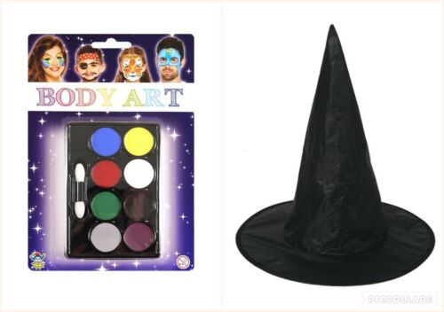 Halloween Ladies Womens Adult Kids Wicked Witch Hat Fancy Dress and paint combo