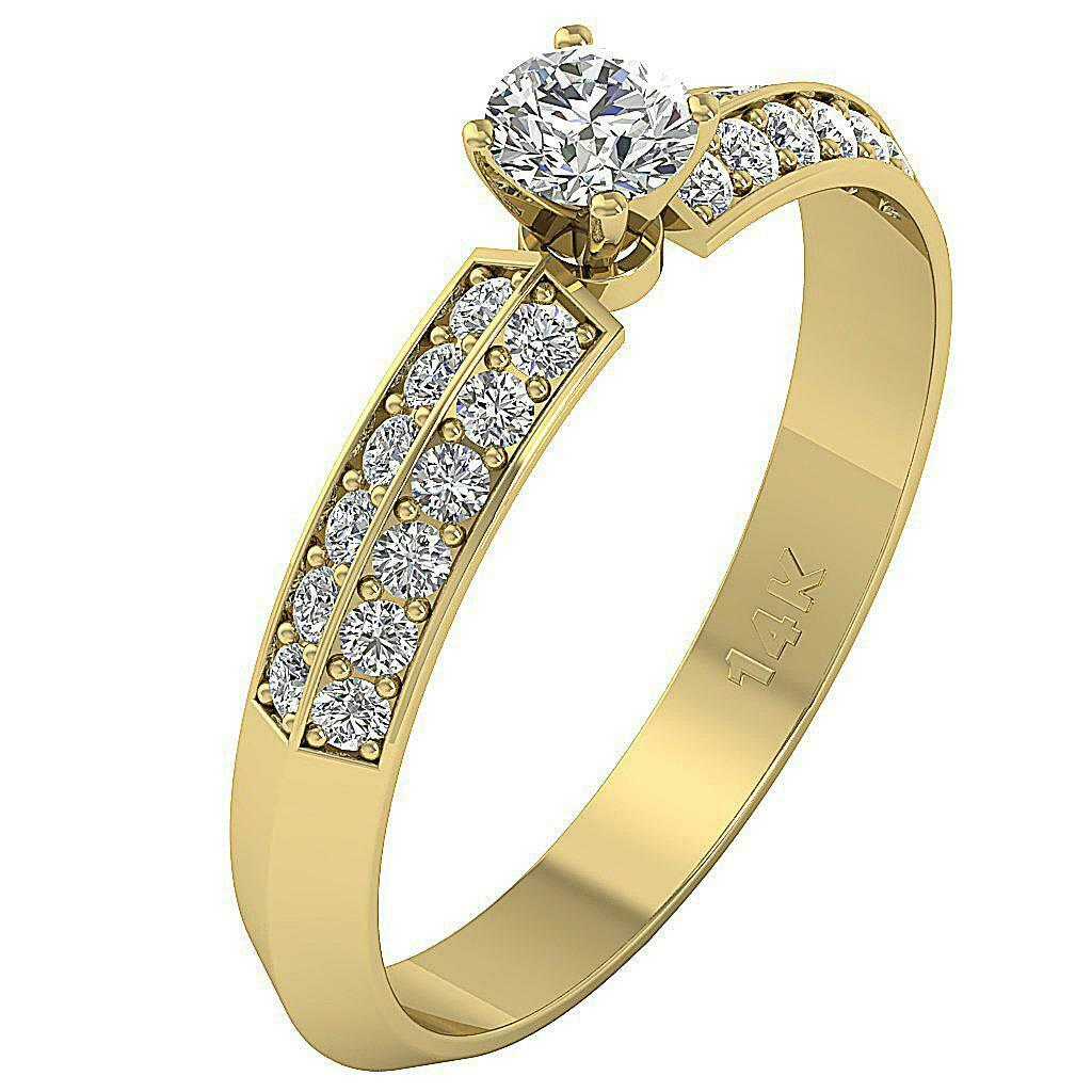 Solitaire Engagement Ring SI1 G 0.90 Ct Genuine Diamond White Yellow pink gold