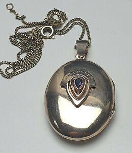 Art-Deco-Silber-Medaillon-vergoldet-blauer-Saphir-besetzt-925-Silber-punz-A480