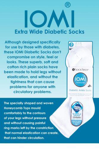 Iomi 3 paia cotone extra wide non vincolanti Basso Quarto Calzini alla caviglia per il diabete