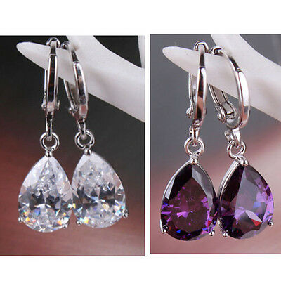 jewelry white / purple crystal charming silver plated waterdrop dangle earring