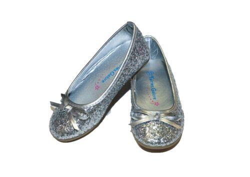 Girls Toddler Princess Silver Glitter Sparkle Party Ballet Flats