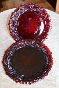 Avon-Cape-Cod-1876-Ruby-Red-Dessert-Plate-Set-of-4-7-1-4-034