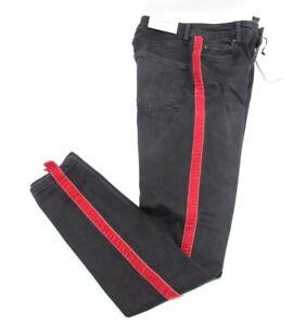 7b340784 Zara Woman High Waist Black Pants Jeans Red Velvet Stripe Slim ...