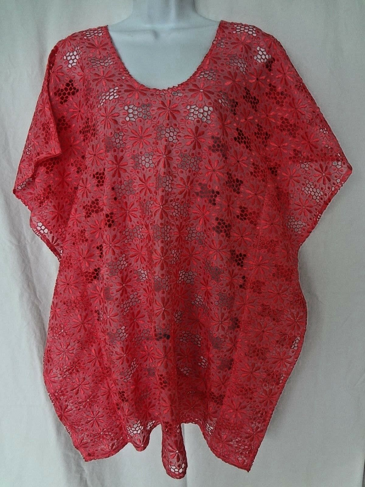 Auth FLAVIA PADOVAN Hot Pink COTTON Lace SWIM Coverup BEACH Dress Made in ITALY