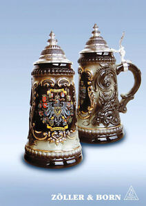 GERMAN-BEER-STEIN-0-25-l-german-eagle-crests-with-pewter-lid-NEW