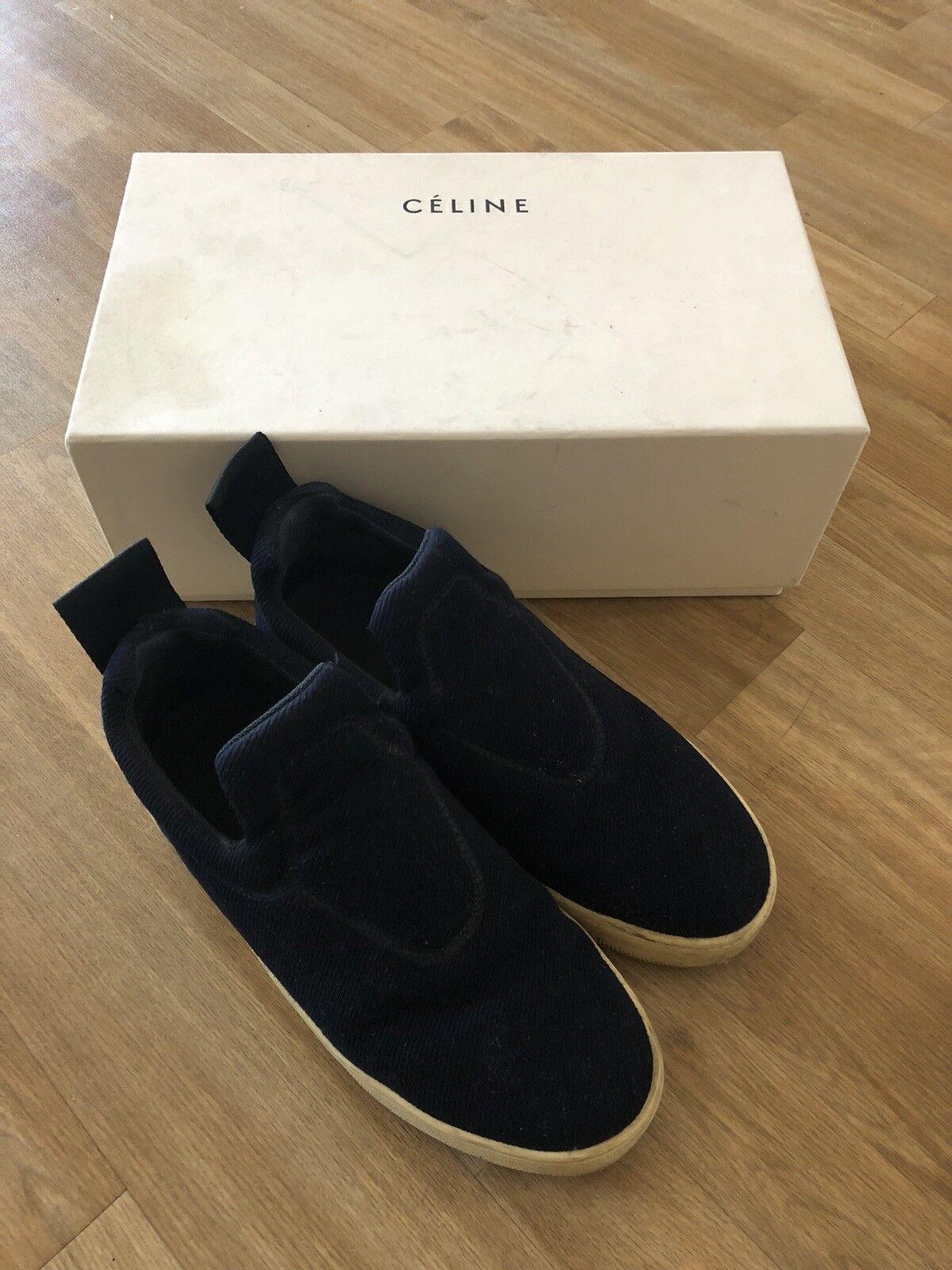 CELINE Womens Navy Slip-On Rubber-Sole Sneaker shoes 37