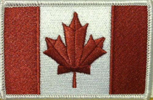 Canada Flag Iron-On Morale Patch Burgundy /& White Version White Border #09