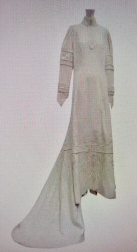 Victorian 1880 Wedding Gown Cream Wool Embroidery