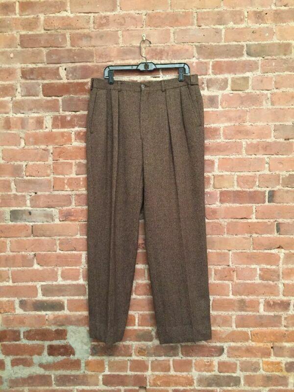 VINTAGE Polo Ralph Lauren Mens Wide Leg Tweed Pants. SZ 36 X 32