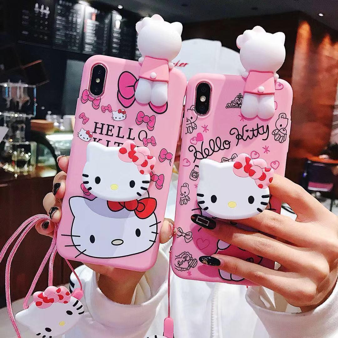 Set fr iPhone 11 XS Max X 8 3D Hello kitty Strap Holder Case