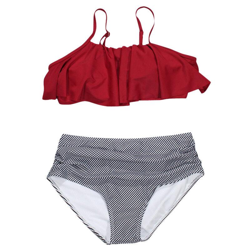 Damen Rüsche Schulterfrei Bademode Monokini Bikini Set Beachwear Badeanzug FL