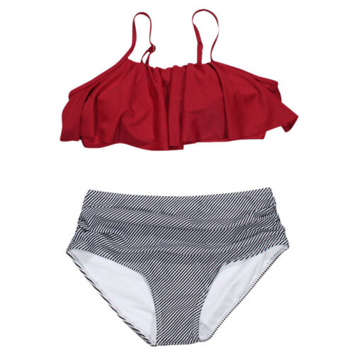 Damen Bikini Set Volant Push up High Waist Streifen Bademode Badeanzug Tankini