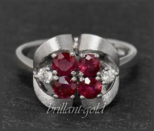 Rubin-und-Diamant-Cocktail-Ring-mit-1-12-ct-585-Gold-Weissgold-Antik-ca-1950
