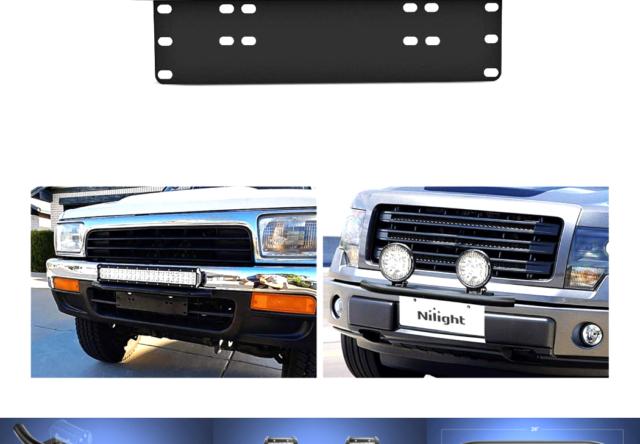 Nilight Led Light Bar Mounting Bracket Front License Plate Frame  Bracket Lic...