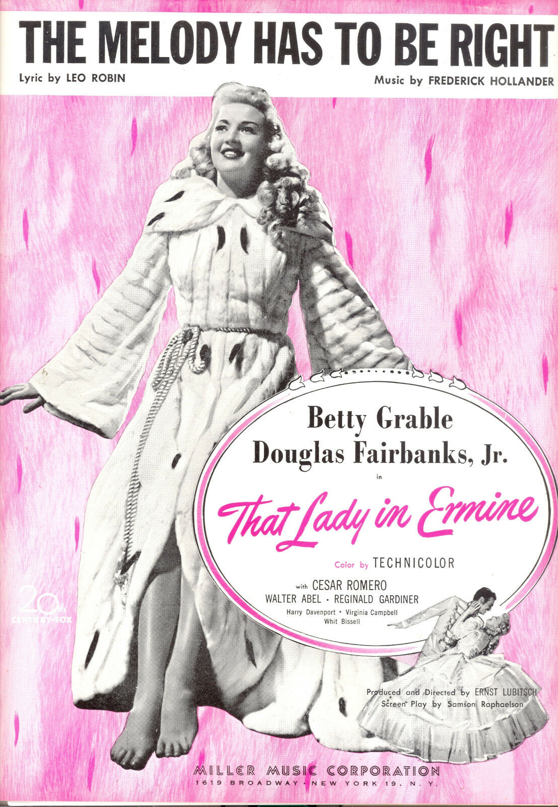 THAT LADY IN ERMINE Sheet Music  The Melody Has To Be Right  Betty Grable