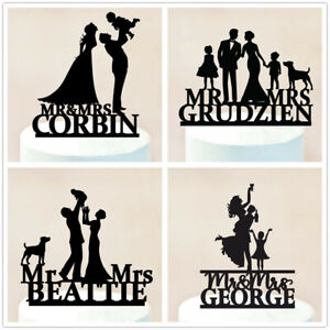 Family-with-Children-Dog-Wedding-Cake-Topper-Customized-Last-Name-Party-Supplies